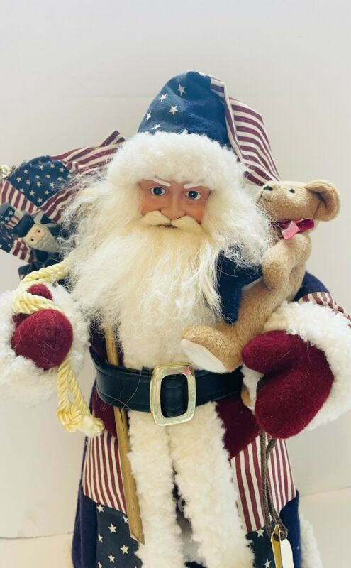 "18"" Santa Claus Figure St Nicholas Square Patriotic Americana Jolly Old Liberty"