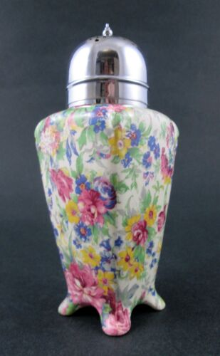 SPRINGTIME - footed SUGAR SHAKER muffineer sifter - vintage English chintz