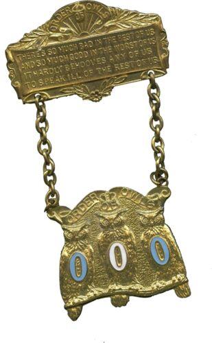 Very Nice Vintage Fraternal ORDER OF OWLS Lodge Member Brass Medallion/Pinback