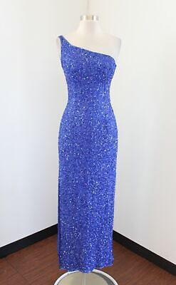 Vtg Scala Blue Silk Beaded Sequin One Shoulder Evening Formal Dress Size -