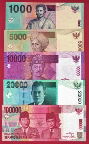 INDONESIA UNC NOTES: 1K (P-141a), 5K (P-142a), 10K (P-143a), 20K (P-144a) & 100K