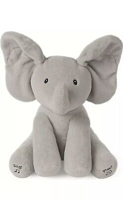 NWT! Baby GUND Animated Flappy The Elephant Stuffed Animal Plush Gray Sings!