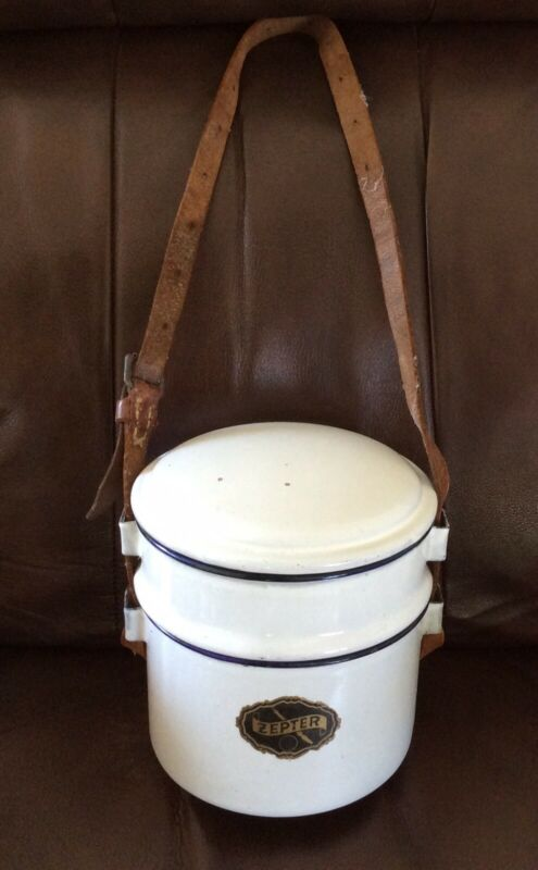 VINTAGE White Enamel ZEPTER MESS KIT HOT FOOD CARRIER DDR EAST GERMAN / MILITARY