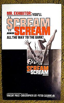 "VINCENT PRICE & CUSHING --- ""SCREAM & SCREAM AGAIN"" / uncut 1970 pressbook 24 pg"
