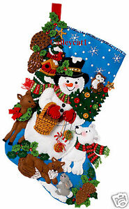 Bucilla-Woodland-Snowman-18-Felt-Christmas-Stocking-Kit-86201-Frosty-Animals