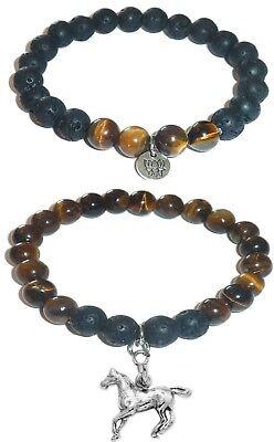 HORSE Charm Women's Tiger Eye & Black Lava Stretch Bracelet Gift -