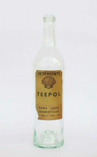 RARE ANTIQUE 1930s SHELL TEEPOL DETERGENT FOR DOMESTIC USE GLASS EMPTY BOTTLE