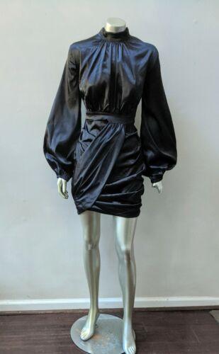 RETRO 90s VINTAGE BISHOP SLEEVES DRAPED BLACK SATIN PARTY DRESS sz M
