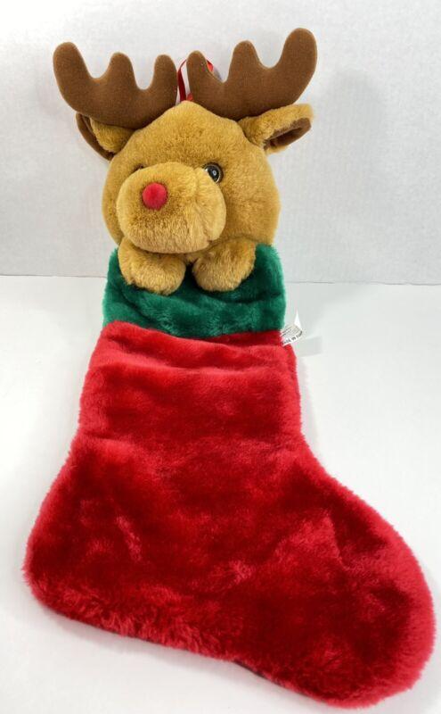 "Vintage Moose Head Plush Christmas holiday vtg Stocking Reindeer 21""  P"