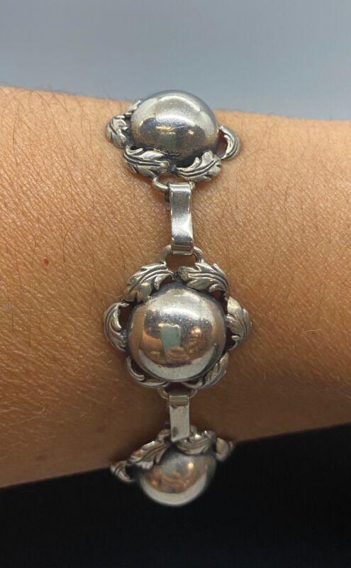 "Sterling Silver Ball and Leaf Bracelet 8"""