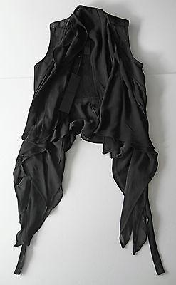 gareth pugh BLACK BIKER vest with silk panels it46 usa M-L NEW