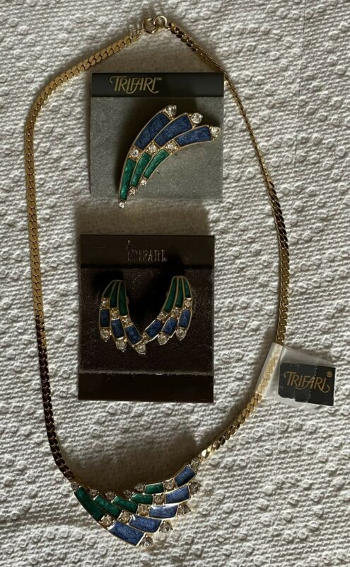 Vintage Trifari Necklace Earrings Bracelet Signed Rhinestone Enameled