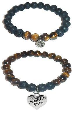 Tiger Bracelet Set (MOTHER OF THE GROOM Women's Tiger Eye & Black Lava Stretch Bracelet Gift)