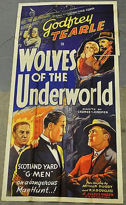 WOLVES OF THE UNDERWORLD 1933 ORIG 41X81 MOVIE POSTER GODFREY TEARLE ISLA BEVAN
