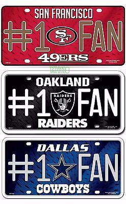 NFL Team #1 Fan Metal Sign License Plate Tag Man Cave Metal Team Plate