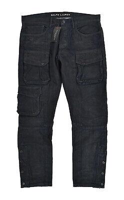 Ralph Lauren Black Label Indigo Waxed Denim Cargo Jeans Pants 34 x 30 New $395