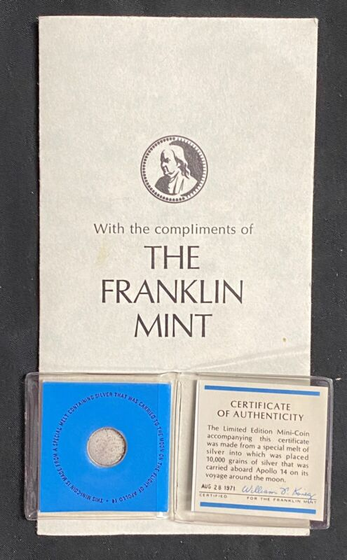 1971 US FRANKLIN MINT LIMITED EDITION APOLLO 14 MOON SILVER MINI COIN