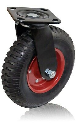 Lot Of 2 Houseables Caster Wheels 8 Inch Red Rim Rubber Cast Iron Large