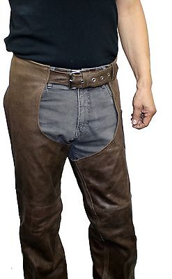 Extra Heavy Classic Biker Cowhide Distress Leather Chaps-Unisex Limited Offer! (Unisex Classic Chap)