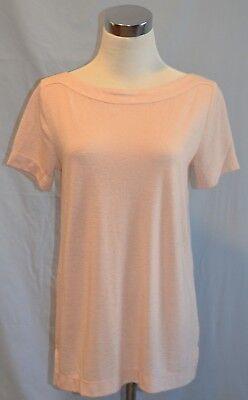 Ann Taylor Loft Women's Pink Casual Boatneck Short Sleeve T-Shirt Tee Top Size S