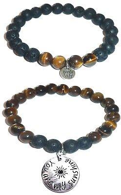 Tiger Bracelet Set (YOU ARE MY SUNSHINE Women's Tiger Eye & Black Lava Stretch Bracelet Gift)
