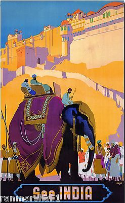 See India Elephant 2 Vintage Travel Art Advertisement Poster