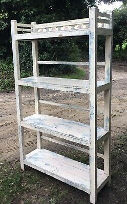 Vintage Hardwood Victorian Tiled Painted Farmhouse Shabby Chic Bookcase Shelving