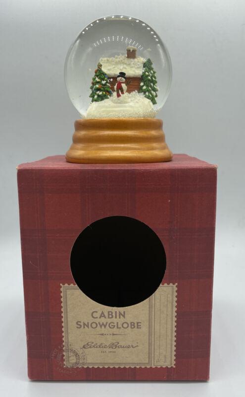 "EDDIE BAUER HOME Cabin Snow Globe Decor Winter Christmas 4""x3"""