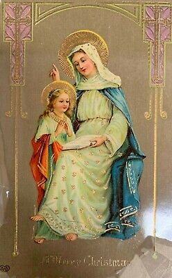 Beautiful Woman and Child Reading Bible Merry Christmas Religious Postcard ()