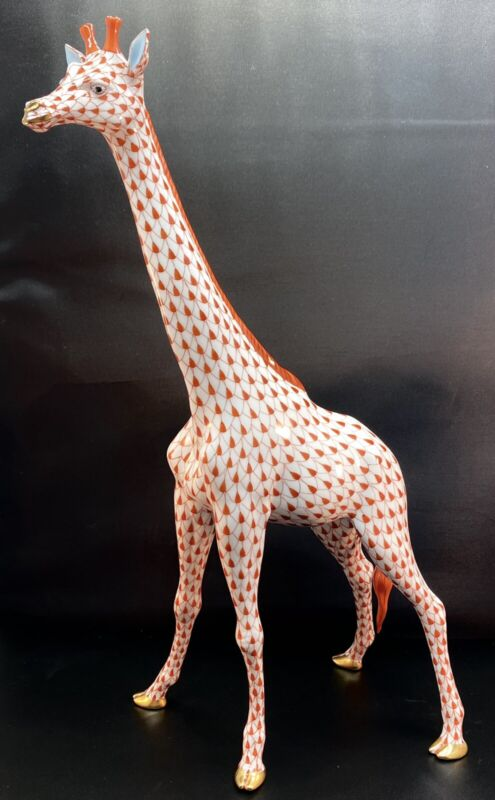 "🦋 NEW HEREND XLarge 15.5"" GIRAFFE Rust Fishnet Figurine ($2,640 Retail)"