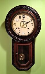 Antique Schoolhouse Carved Regulator Wall Clock