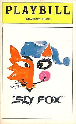 1977 Playbill Sly Fox by Larry Gelbart Robert Preston Gretchen Wyler