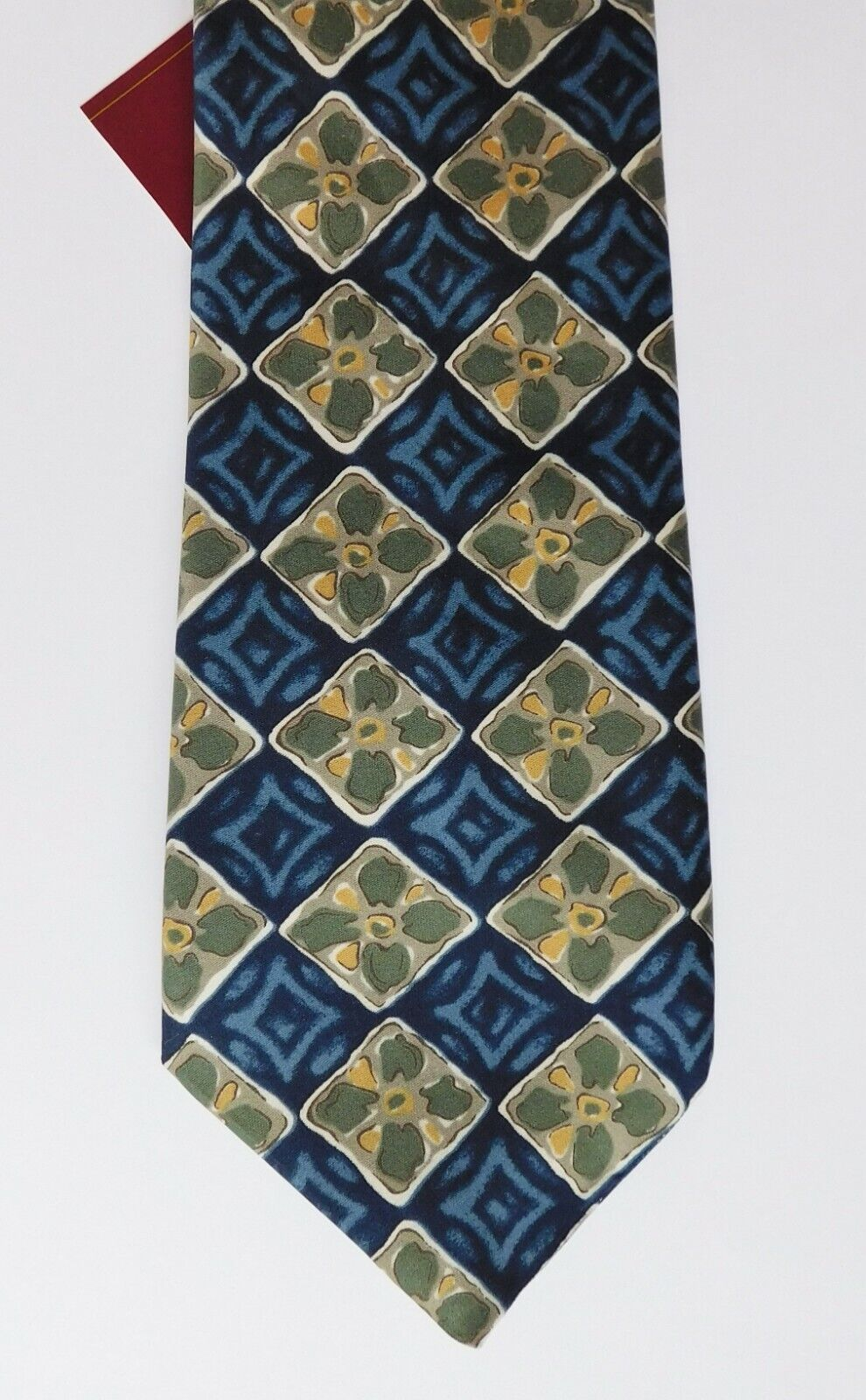 Burton Mens Wear tie with floral check pattern UNUSED but IMPERFECT made in UK