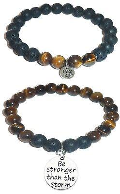 Tiger Bracelet Set (BE STRONGER THAN THE STORM Women's Tiger Eye & Black Lava Bracelet Gift)