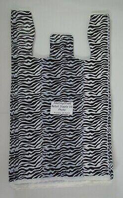 Zebra Print Design Grocery Plastic T-shirt Bags W Handles Supermarket Size