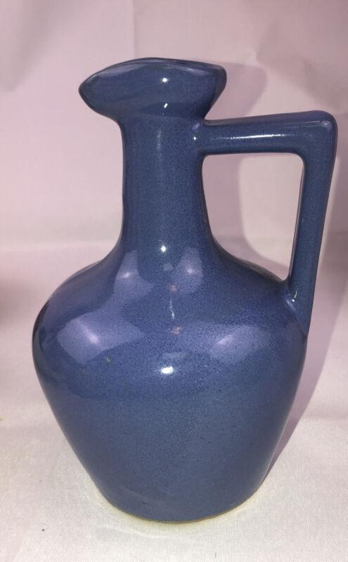 Uhl Pottery Blue Stoneware Jug 510 Small Vintage Ewer Pitcher Round