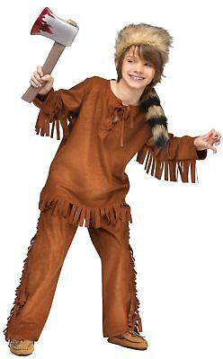 Frontiersman Native American Costume Wild West Child Boys Davy Crockett - Davy Crockett Halloween Costume