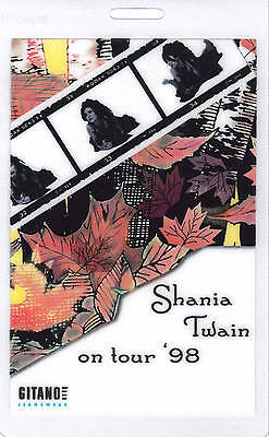 *********SHANIA TWAIN*********  CONCERT TOUR LAMINATED BACKSTAGE PASS 1998