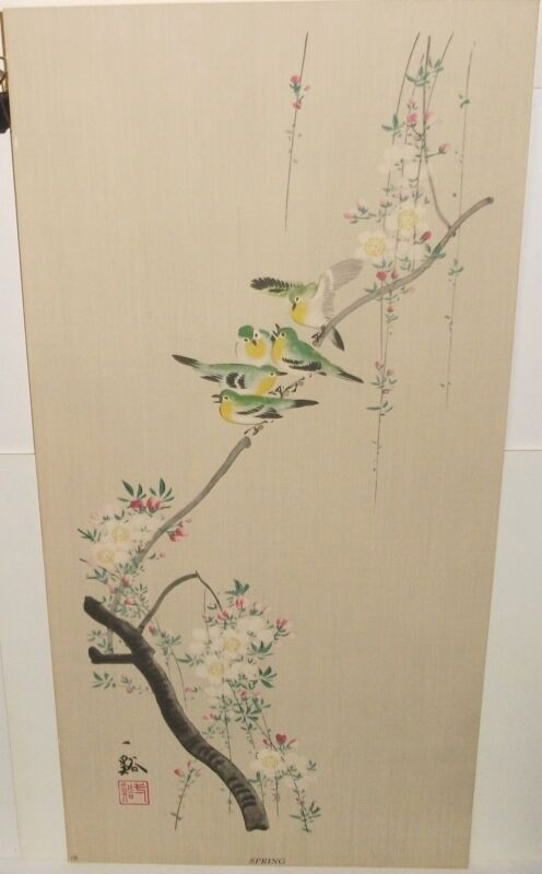 """JAPANESE """"SPRING"""" BIRD ON WHITE FLOWER TREE WATERCOLOR PAINTING SIGNED"""