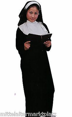 3 tlg Nonnenkostüm Nonne Klosterfrau Halloween Mittelalter LARP Gothic (Nonne Kostüm)