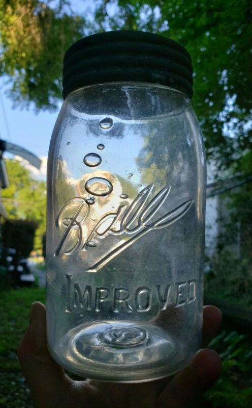 Crude BUBBLY Antique Vintage Ball Improved Clear Fruit Jar 3L Dropped A