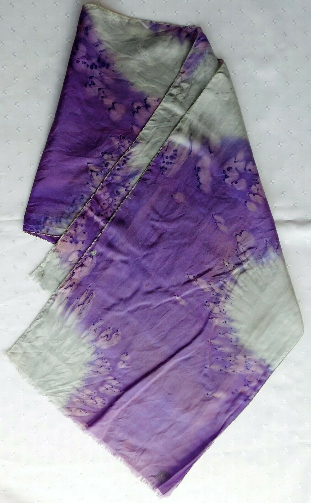 "Vintage soft silk scarf signed with initials RS 51"" x 12"" purple and grey ko"
