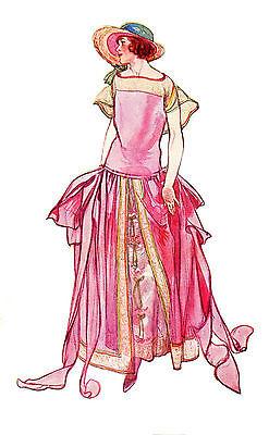 "Waterslide Decals (4pcs 2.5""x3.5"") FLONZ 412-0229 Vintage Fashion Belle Epoque"