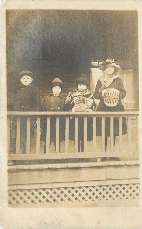 Vintage Real Photo Postcard~Victorian Children~Winter Muffs~Coats~1915 RPPC