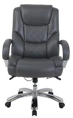 Vinmax Big Tall High Back Executive Chair Heavy Duty Chrome Metal Armrests-gy