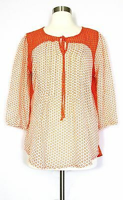 Antilia Femme Blouse Top Orange White Sheer Large