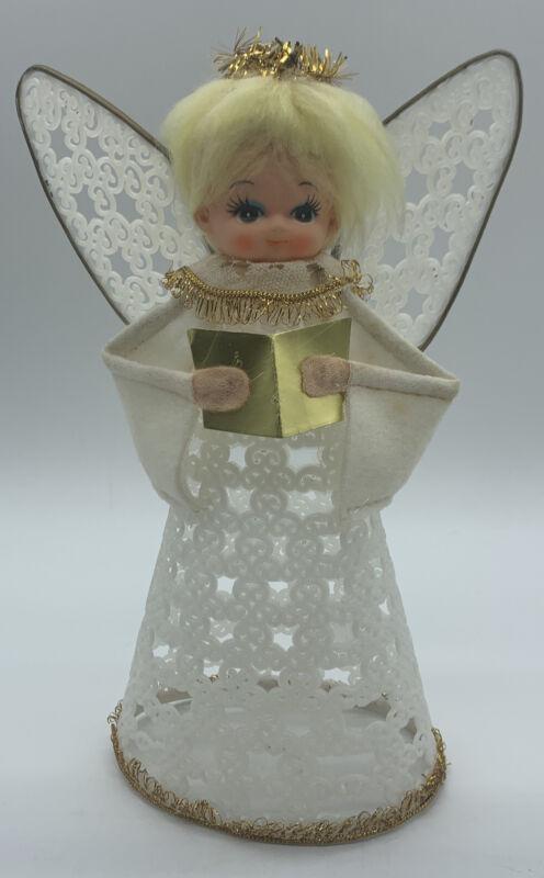 Vintage Handmade Plastic Canvas Angel Holding Gold Book Christmas Tree Topper