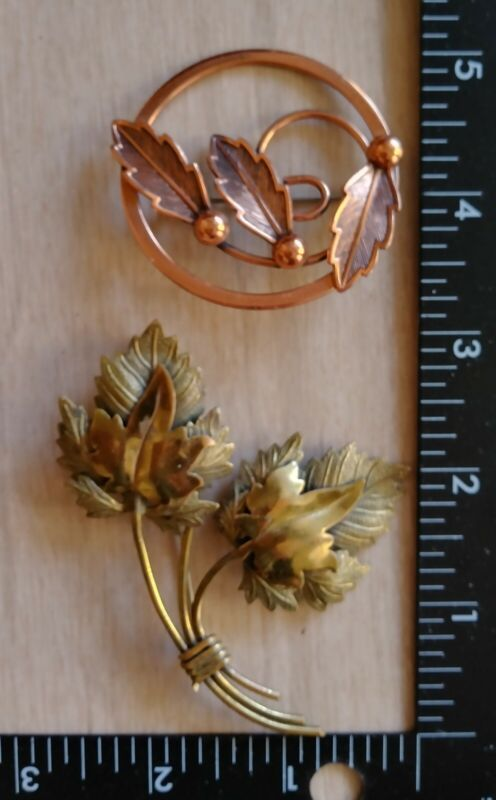 Lot of 2 Large Vintage Brooches Pins Copper & Brass Jewelry Leaf Motif