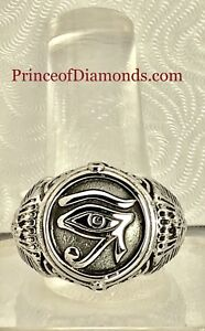 Silver coloured eye of Horus ring size 14 Egyptian ring