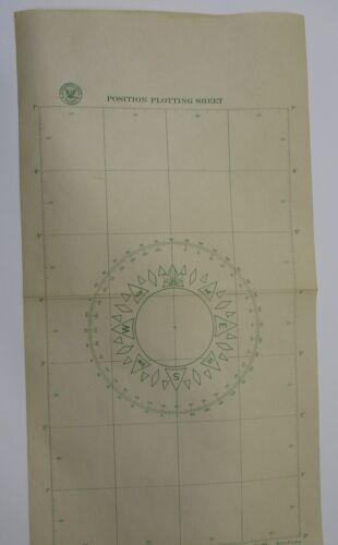 Vintage WWII Nautical Maritime Chart Lifeboat Position Plotting Sheet Navy 1944